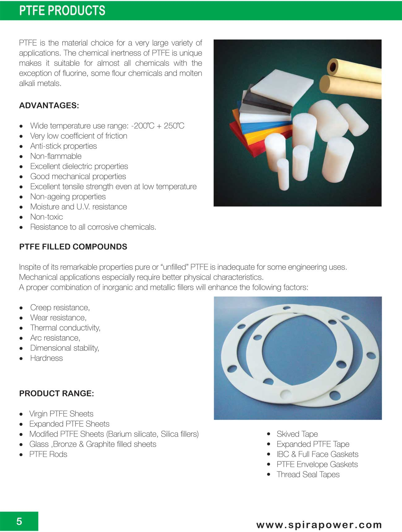 Ptfe products spira power gasket manufacturing and